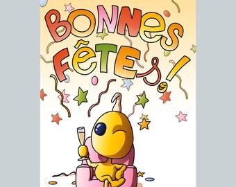 Carte postale papier Patateman - Bonnes Fêtes
