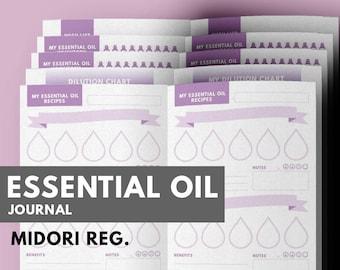 Essential Oil Recipes Journal Midori insert printable, Aromatherapy Journal, Midori, Midori Refill, Essential Oil Notebook Journal