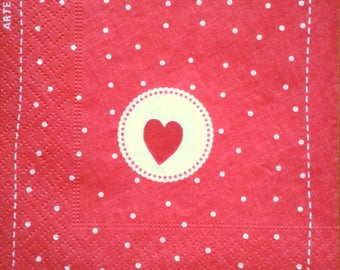 Paper towel red white polka dots, 25 x 25 cm