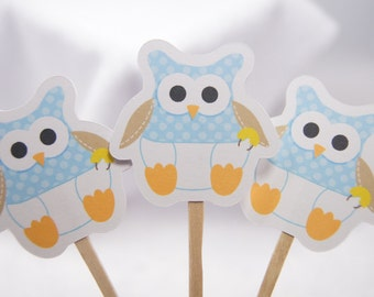 Baby Boy Owl Cupcake Toppers Food Picks Party Picks - set of 12 - CD025