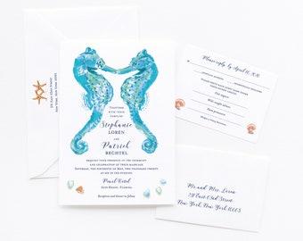 Beach Wedding Invitation, Destination Wedding Invitation, Beach Wedding Invitation Set, Aqua Blue Seahorses