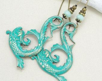 Asian Dragon Jewelry Unusual Gift for Women Long Earrings Hand Painted Brass Jewelry Verdigris Earrings Light Turquoise Green & Mint Jewelry