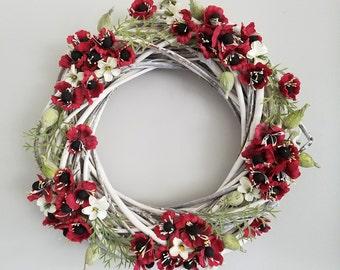 "16""  Silk Poppy Wreath"