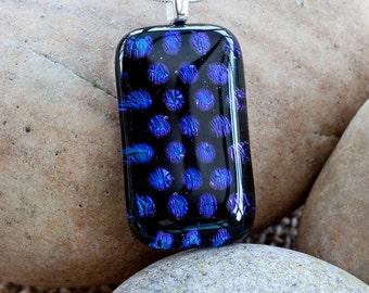 Spotty Dotty Pendant   Spotty Necklace   Dotty Pendant   Dots Necklace   Fused Glass Pendant   Dichroic Glass Necklace   Blue Glass Necklace