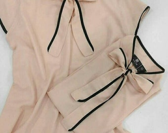 Blouse with drawstring on the neck, blouse for wedding, blouse to wear under the jacket, romantic blouse, nude color blouse, blouse 2018, wedding