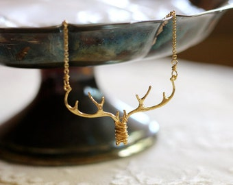 Antler / branch / twig woodland bib necklace, gold tone, twig jewelry, whimsical small statement necklace, Doe Eyed