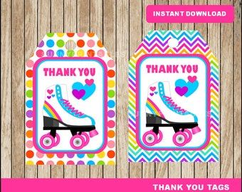 Roller Skate tags; printable Roller Skating Thank you Tags, Roller Skate party tags instant download
