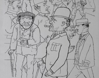"""GEORGE GROSZ - """"Perfect Peoples"""" - Original Lithograph Poster, 1970"""