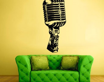 microphone wall decals microphone wall decor microphone wall sticker mic wall art (Z344)