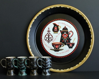 Vintage Coffee Theme Metal Serving Tray Koffee Klatch Kitschy Mid Century Wall Decor or Serving Tray