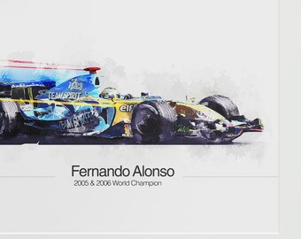 Fernando Alonso unique F1 Print - A4 limited run