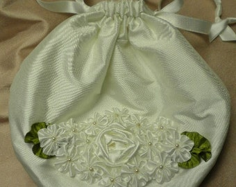 White Silk Purse Handbag With Silk Ribbon Flowers