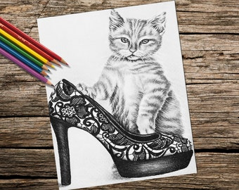 Adult Coloring Page, coloring pages, Instant download coloring, Cat with Shoe coloring page, coloring page, coloring for adult, Printable