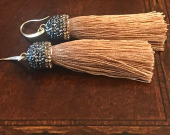 Gem stone accent wheat colored tassel earrings on a French hook.