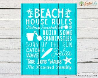 BEACH HOUSE RULES, Beach House Sign, Family Name, Family Name Wall Art, Beach House Decor, Beach Decor, Beach House Art, Beach House