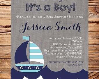 Sail Boat Baby Shower Invitation boy, Sailboat Boy Shower, Navy, Teal, Nautical Baby Boy Shower Invitation, Sailboat Baby shower Boy, 1496