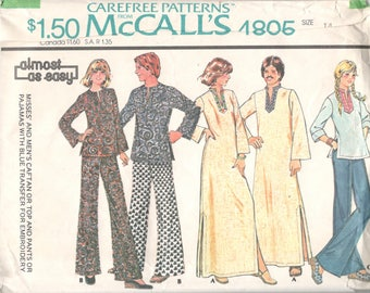 McCalls 4805 1970s Misses CAFTAN Top Pants Pajamas Pattern Womens Vintage Sewing Pattern Size 14 Bust 36 Or 12 Or 16 UNCUT