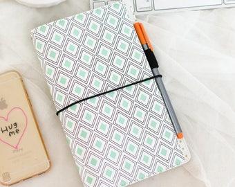 "Freckled Fawn Pocket Traveler's Notebook Mint Diamond Geometric 9""X5.75"" PA7016M"