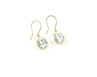 Tiny Vintage Glass Earrings,Vintage Diamond Style Earrings, Vintage Crystal Earrings
