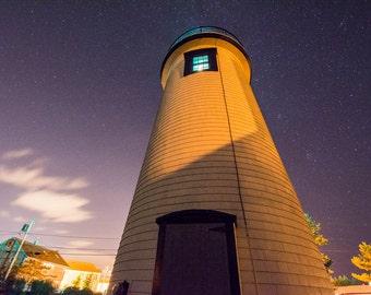 Newburyport, MA light house with stars, lighthouse art, lighthouse photography, lighthouse print, nautical art, nautical decor, home decor