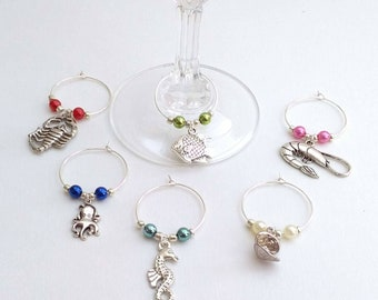 Ocean wine charms set of six, Seaside wine charms, Seafood lover gift, holiday, seahorse, lobster, fish charms, picnic, barbecue, diver