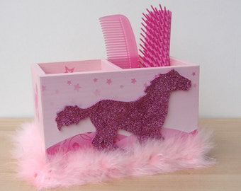 pink glitter horse desk caddy with pink boa