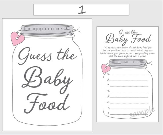 Guess the Baby Food Printable Baby Shower Game Pink Girl