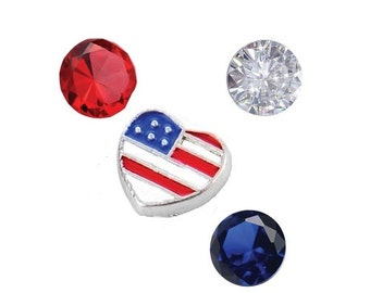 USA Flag Heart and 3x 4.5mm Czech Crystals Floating Charms