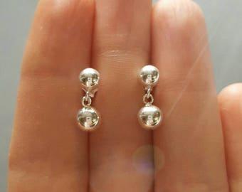 Sterling silver post earrings, silver stud earrings, medium and large ball