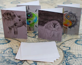 "Assorted Watercolor/Graphite Notecard Set of 40 - 5.5""x4"""