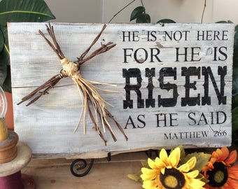 Scripture verse sign, barbed wire art, Bible Verse Sign, barbed wire cross, He is risen, Christian Decor, Western Decor, Rustic Decor,