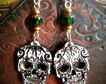 Sugar Skull Earrings,Day of the Dead, Hand painted Jewelry, Skull Earrings, Floral Earrings, Green and copper Earrings, laser cut, Intricate