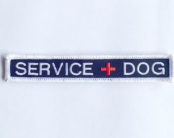 "Small Service Dog Patch - new size - .75"" x 3.5"" embroidered SERVICE DOG patch - Service Dog Patch with red cross"