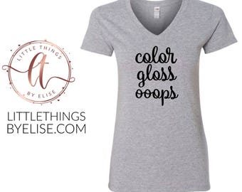 Color Gloss Ooops V Neck Tee, Gray