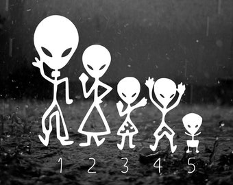 Alien Family Car Decals, Car Stickers, You Choose Color, Quantity, Family Members