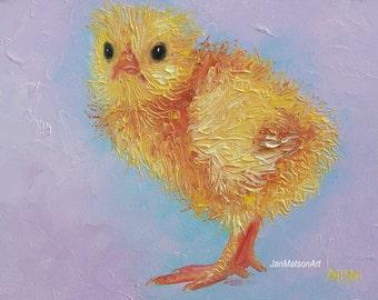 Chicken painting, Baby room decor, Easter chick, nursery art, easter decor, kids art, animal painting, Etsy art, Jan Matson