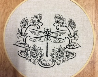 Dragonfly in Blackwork