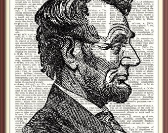 ABRAHAM LINCOLN---16th U.S. President///Vintage Dictionary Art Print---Fits 8x10 Mat or Frame