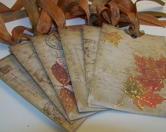 Autumn Leaf Tags Autumn Tags Thanksgiving Tags Place Cards Favors Wish Tags Set of 8