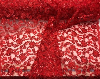 Red flowers embroider with sequins and corded on a mesh lace-wedding-bridal-prom-nightgown-decorations-sold by the yard.