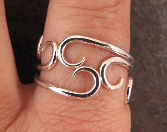 Curvy Silver Stacking Rings Set of 3