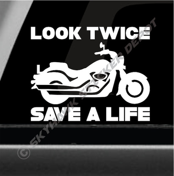 Look twice save a life vinyl decal bumper sticker motorcycle