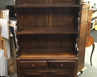 Beautiful Primitive Pewter cabinet cupboard walnut 84h38.5h38w15.5d Shipping is not free