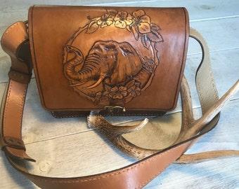 Original Artwork, Handstiched, and Lined Leather Bag