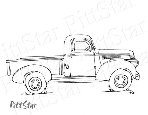 instant download vintage truck printable coloring page. Black Bedroom Furniture Sets. Home Design Ideas
