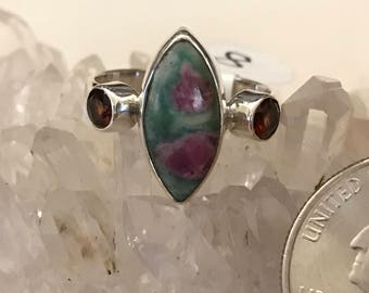 Ruby in Fuchsite and Garnet Ring Size 8