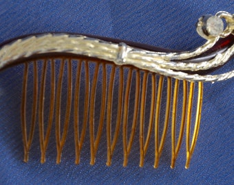 Hair comb, early lucite with rhinestone, circa 1930's