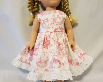 Pink and white nursery rhyme doll dress made to fit American Girl or other, similar 18 inch dolls