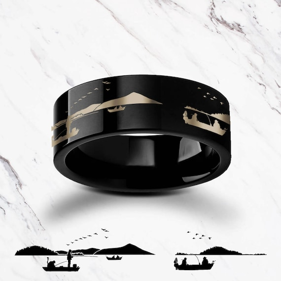 Engraved Fisherman Fishing Ring Landscape Lake Black Tungsten Ring Flat Polished Finish - 4mm to 12mm Available - Lifetime Size Exchanges