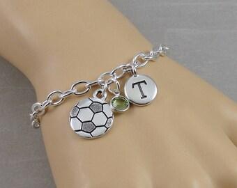 Soccer Charm Bracelet, Soccer Bracelet, Soccer Ball Bracelet, Initial and Birthstone Bracelet, Silver Plated Link Charm Bracelet